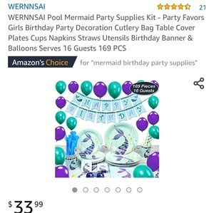 Mermaid Bday Party in Box: 160 pieces left!!
